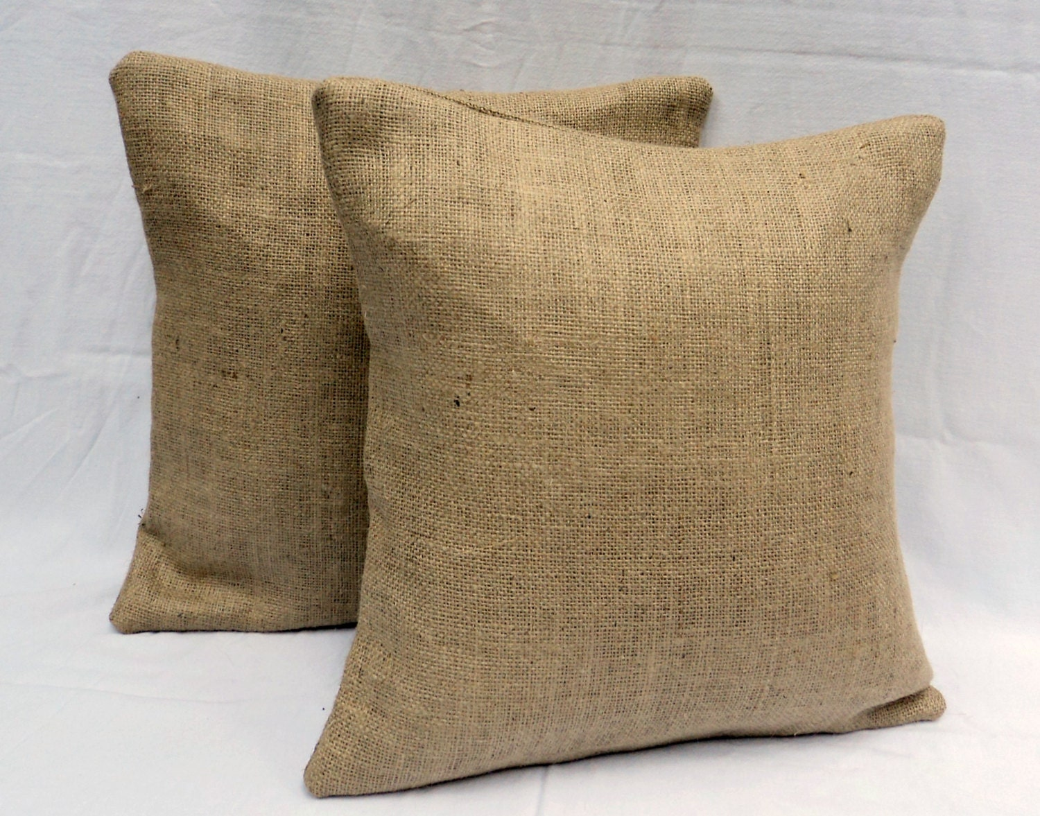 Decorative Burlap Pillow Covers : Fully Lined 20 x 20 Pair of 2 Burlap Pillow by theruffleddaisy