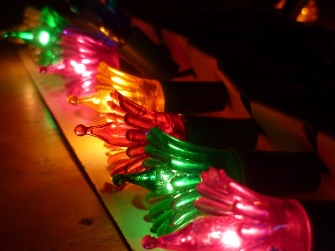 Vintage Christmas Tree Light String Multi Colored by joiedefrance
