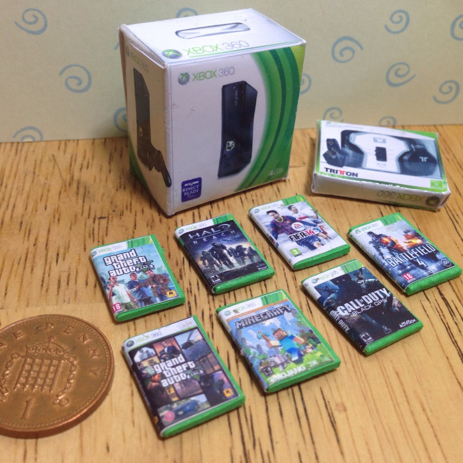 Dolls house handmade miniature xbox 360 bundle  console headphones and 7 games 112 scale