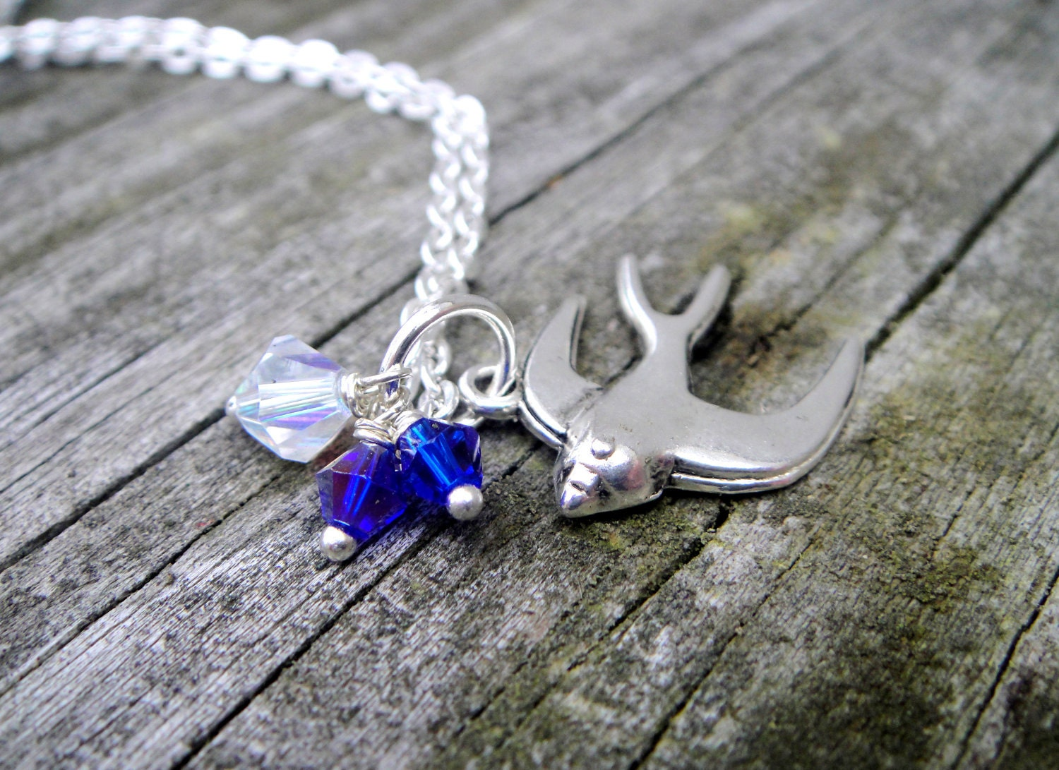 Bird Necklace, Blue and Clear Crystal Accents - Free Shipping - Soaring In To The Deep