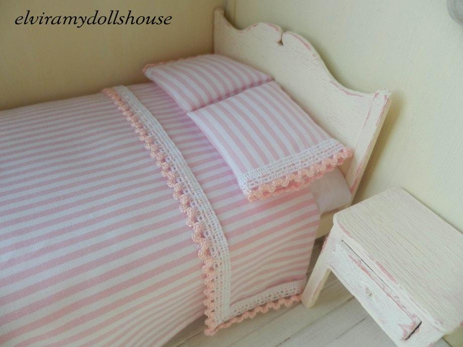 Shabby chic double bedding set dollhouse by elviradollhouse