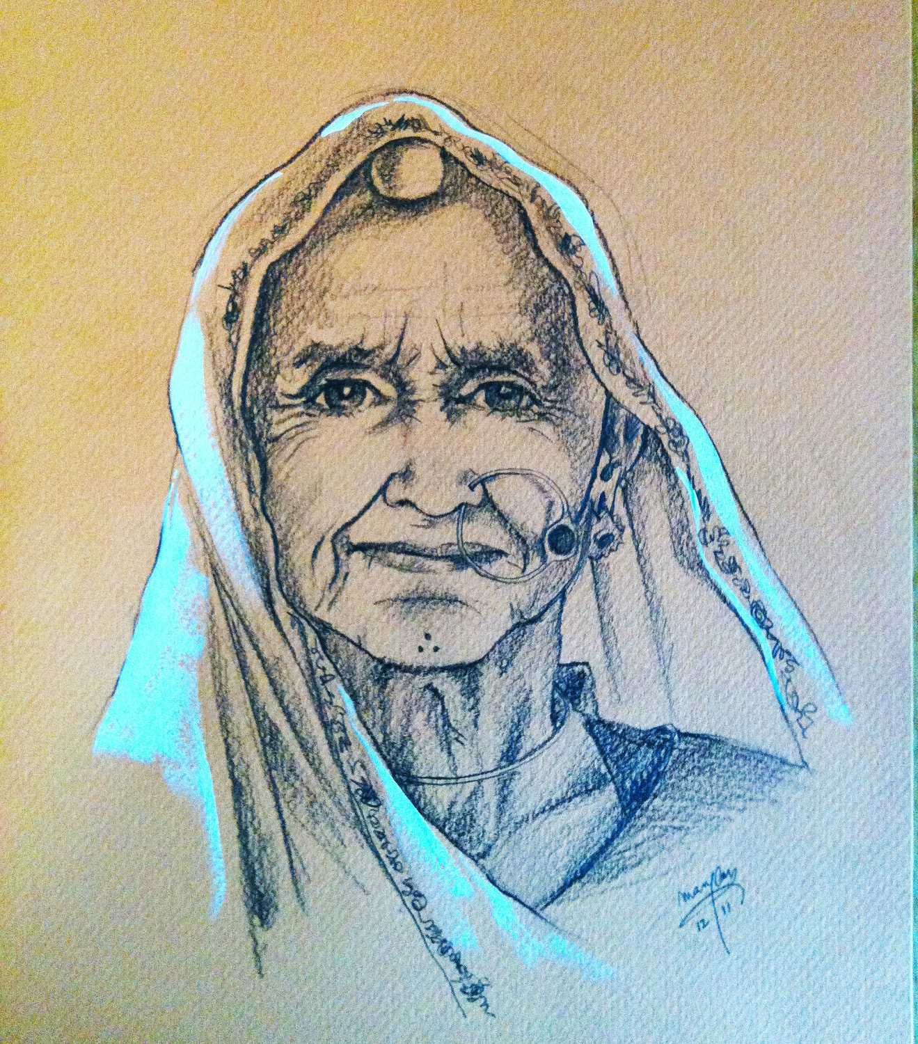 pencil portrait of an old Tribal woman from the desert state of India