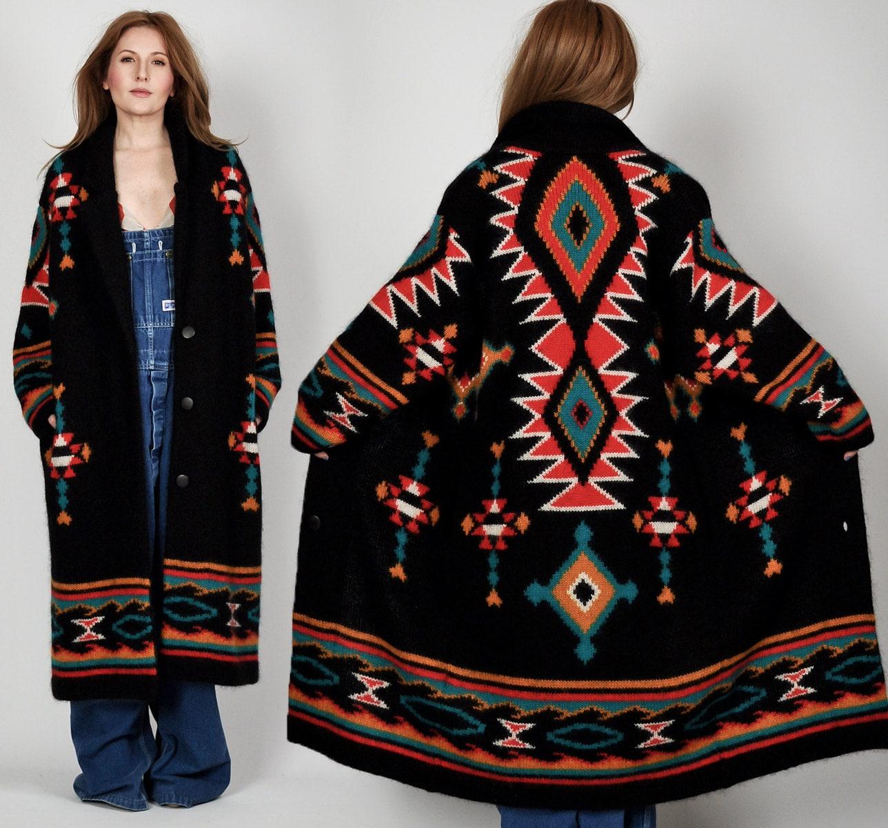 Vintage 80s Wool Southwestern Maxi Cardigan By Tinroofvintage