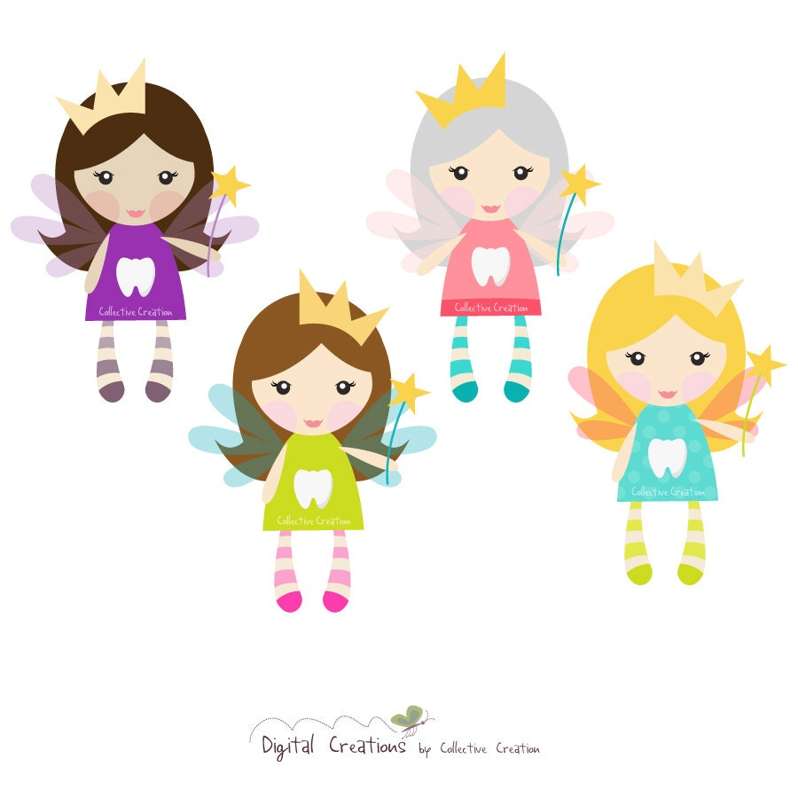 Little Tooth Fairies Digital Clipart Clip by CollectiveCreation