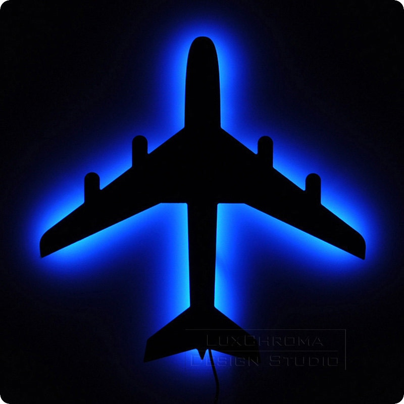 Lights For Wall Decor : Airplane wall light bright blue led lamp aircraft by luxchroma