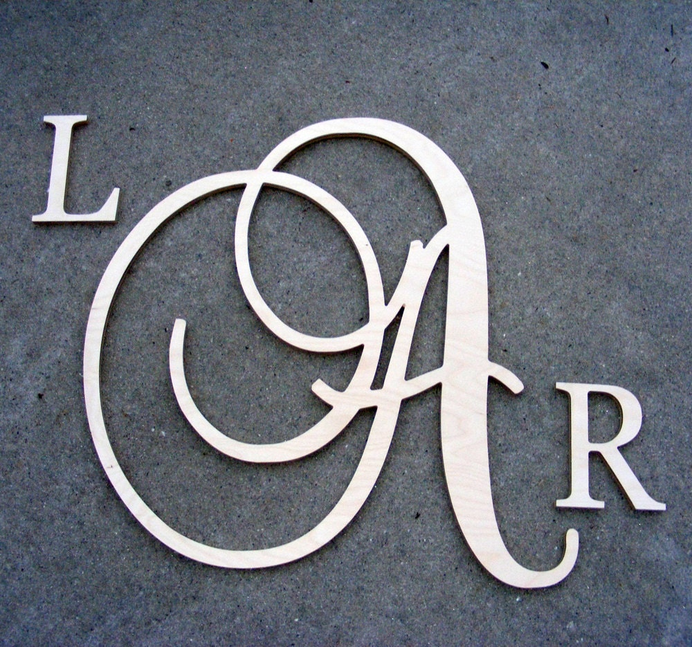 Large script monogram wooden letter with by gallerywoodletters for Large initial letters