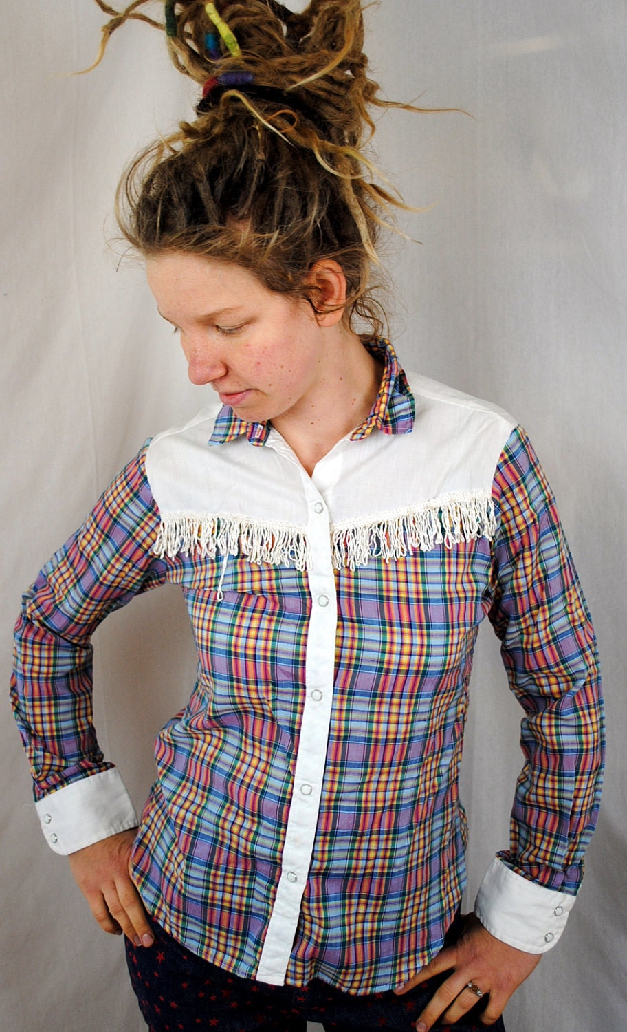 Vintage Womens Western Fringe Plaid Pearl Snap Shirt By