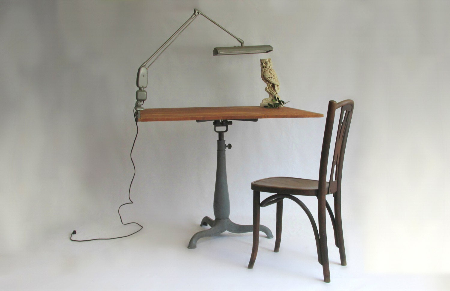 Antique American Drafting Table. Cast Iron Base.Butcher Block Top.10% Off Code.  F S - owlsongvintage