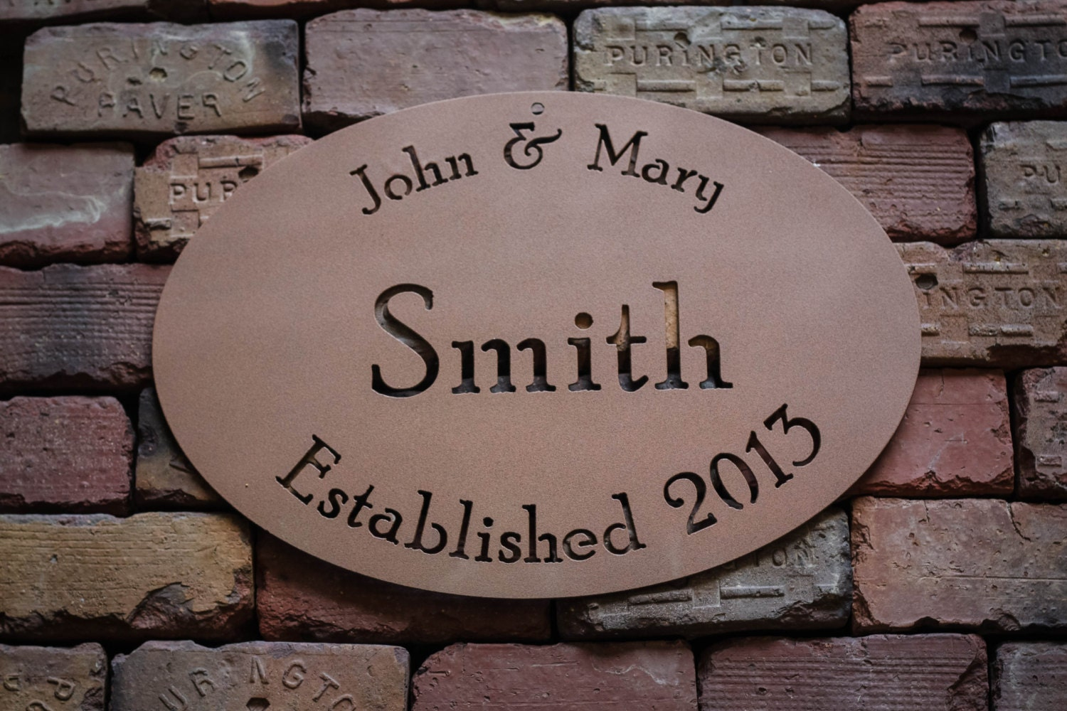 Custom Steel Family Name Sign - Personalized for Weddings, Anniversaries, House Warmings, Handmade - FultonMetalWorks