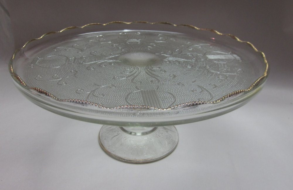 Scroll And Flowers Cake Stand Depression Glass