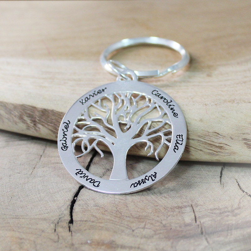Personalized Family Tree Keychain in Sterling Silver Family Trees