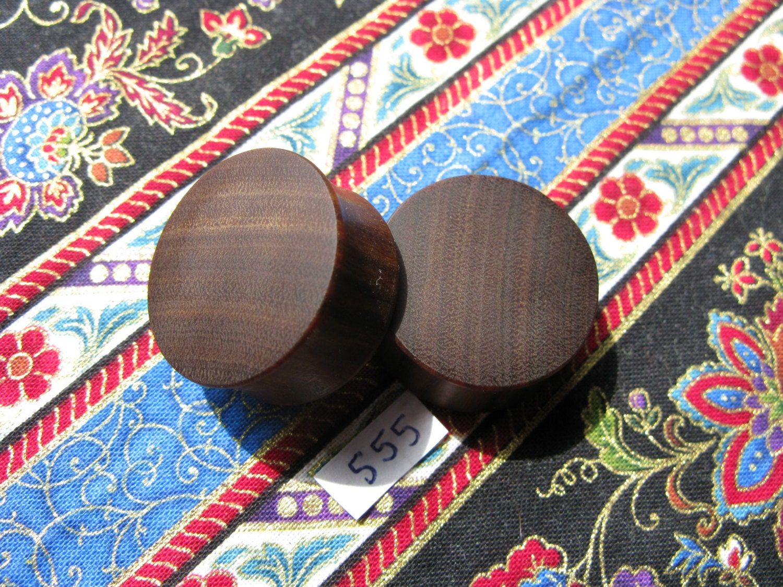 25mm Handmade Wooden Pau Santo Brazilian Blackheart Ear Plugs Pair  Easy Care ( Overall size 26.3mm )