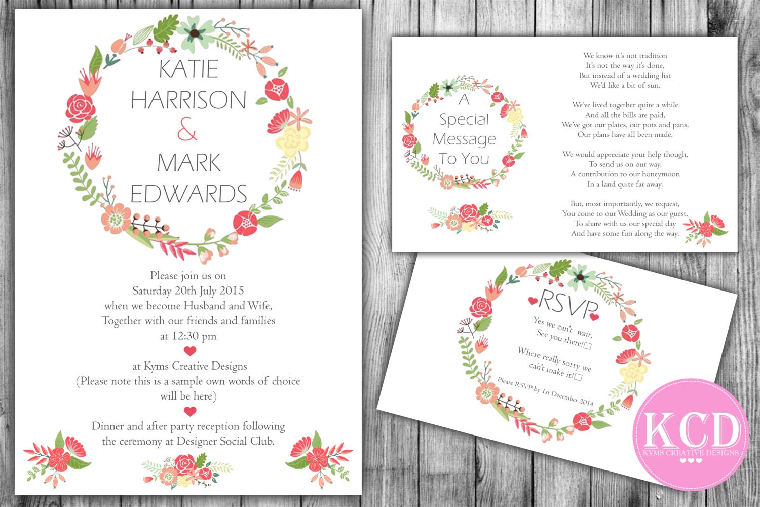 Floral Wedding Invitation Suite Spring Wedding Invite Feather  Floral Wreath Wedding Invitation Photoshop Template  Style01
