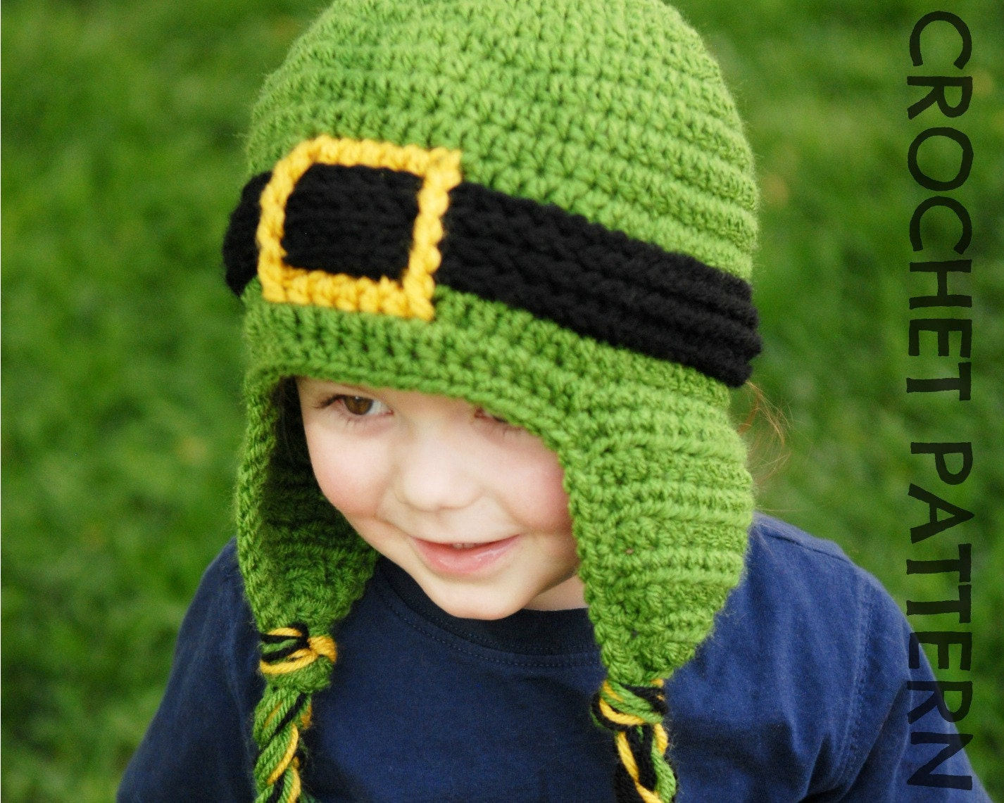 Crochet Pattern Leprechaun Hat : CROCHET HAT PATTERN Leprechaun Earflap by PlayinHookyDesigns