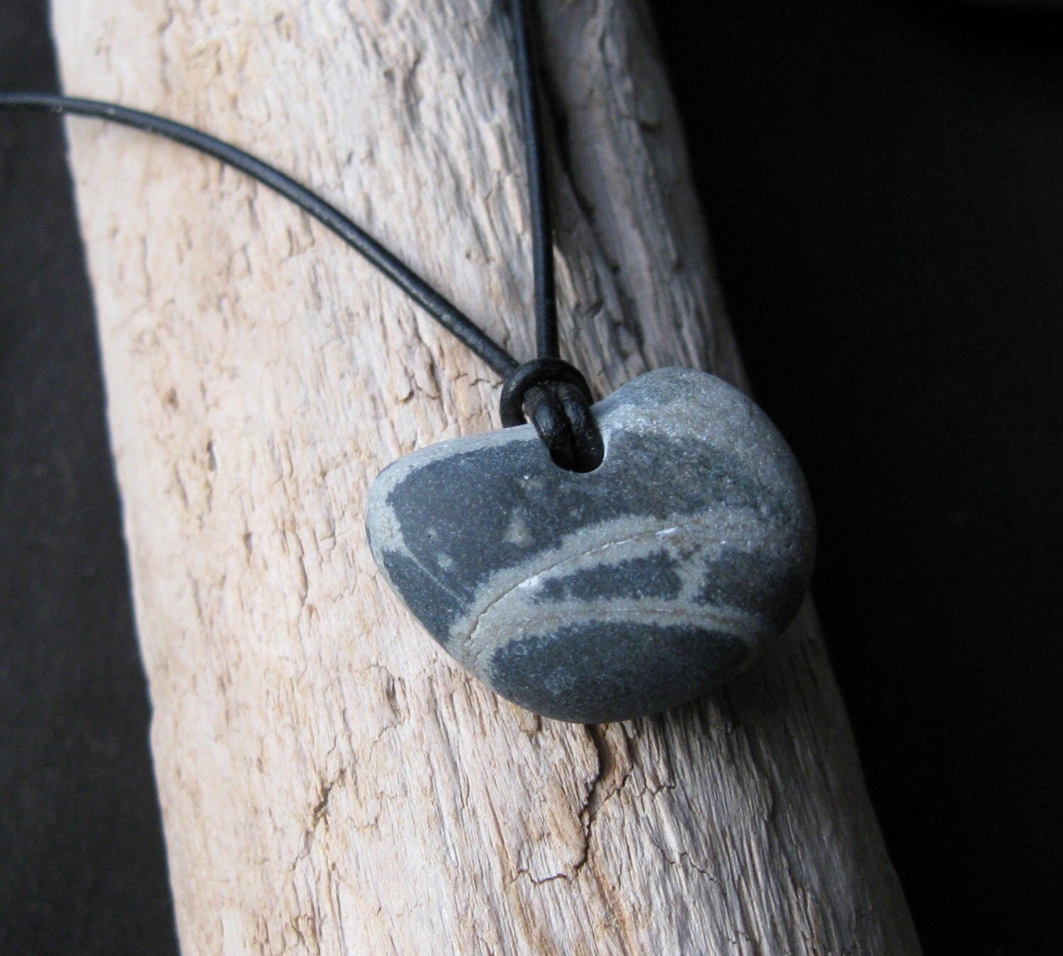 Heart-Shaped Beach Stone Pendant - tloftus