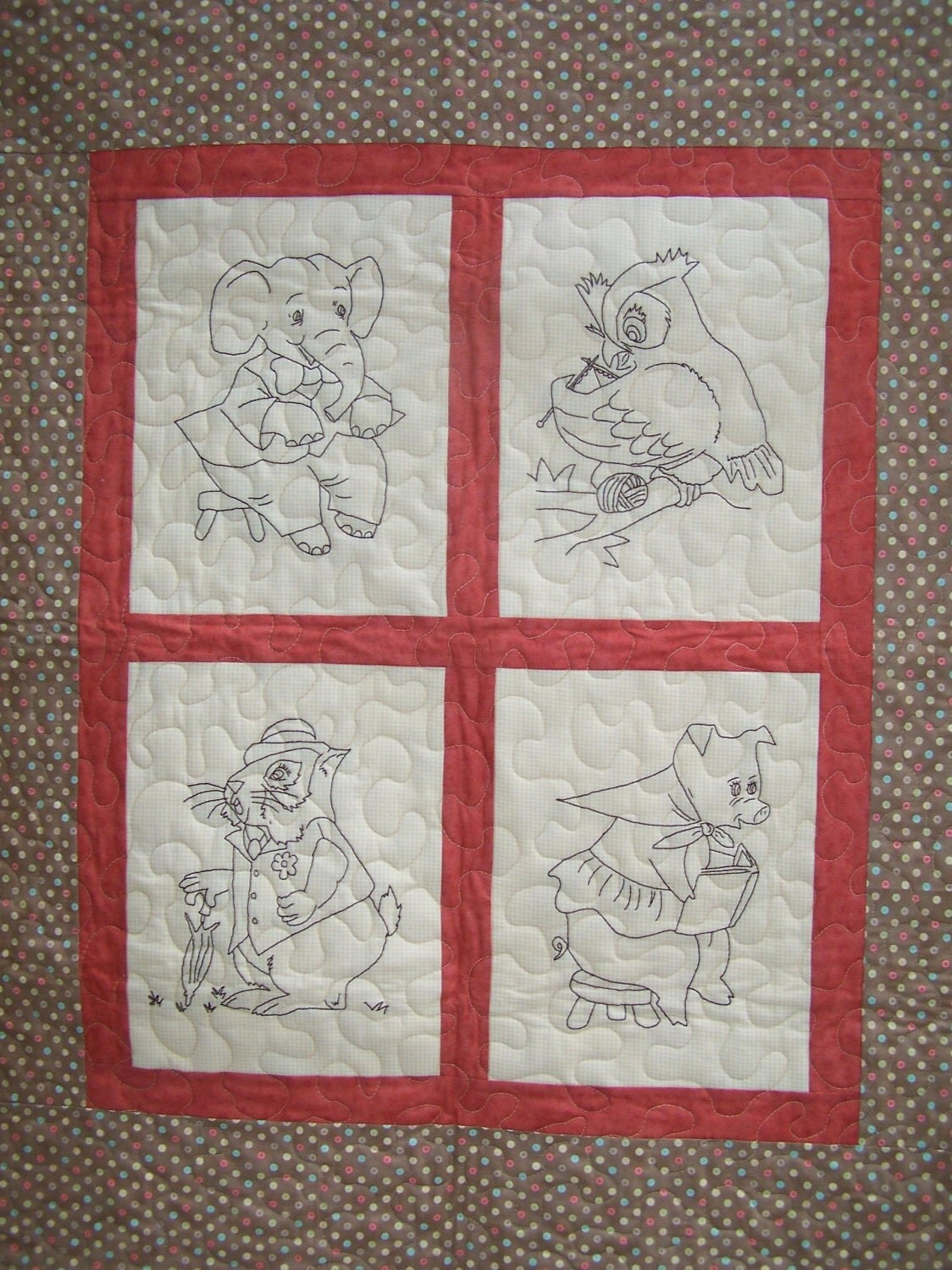 Hand Quilting Patterns For Baby Quilts : Animal Fun Hand Embroidery and Baby Quilt Pattern by PrettyPMamaB
