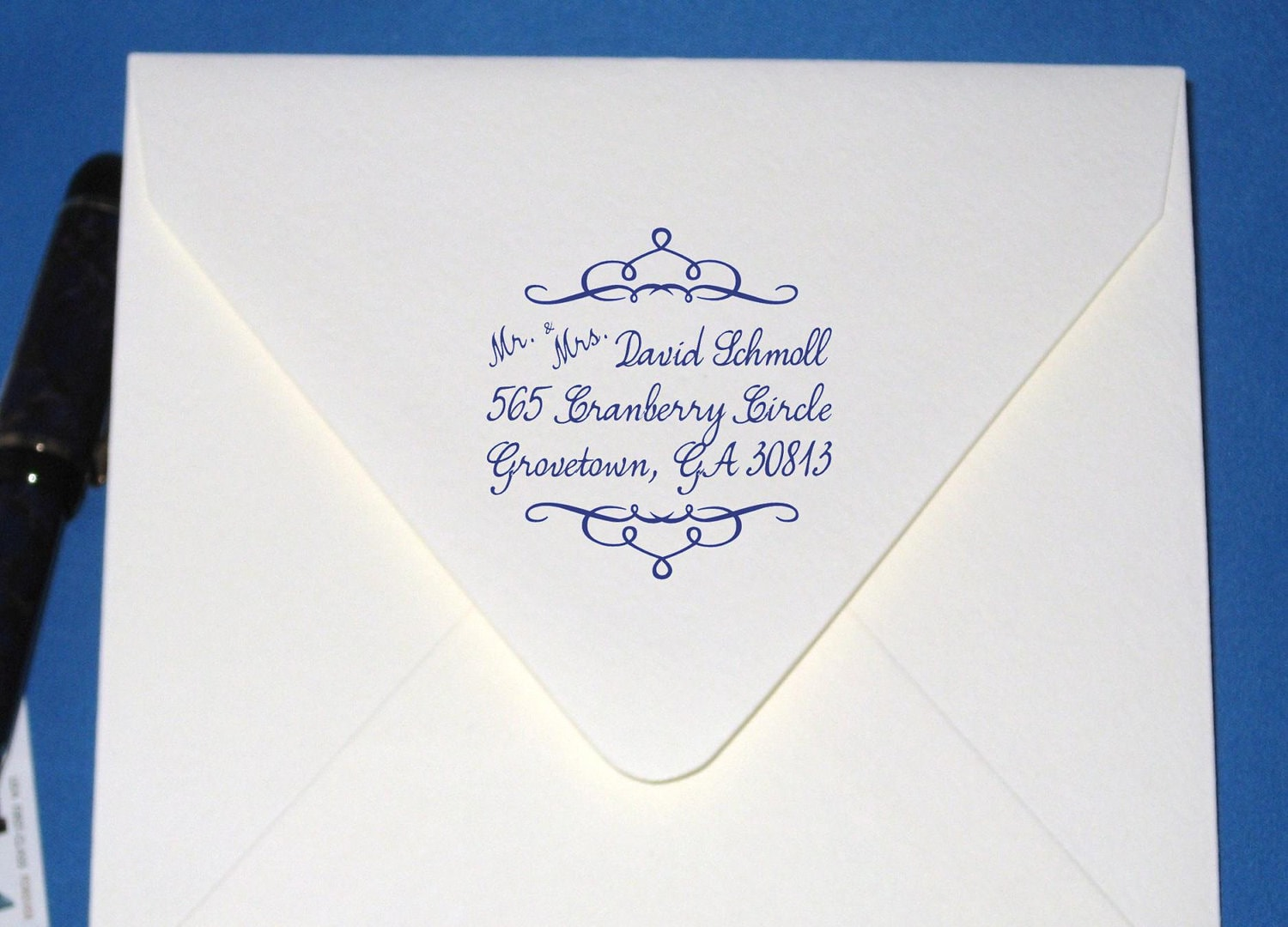 Calligraphy Custom Return Address Stamp For The By