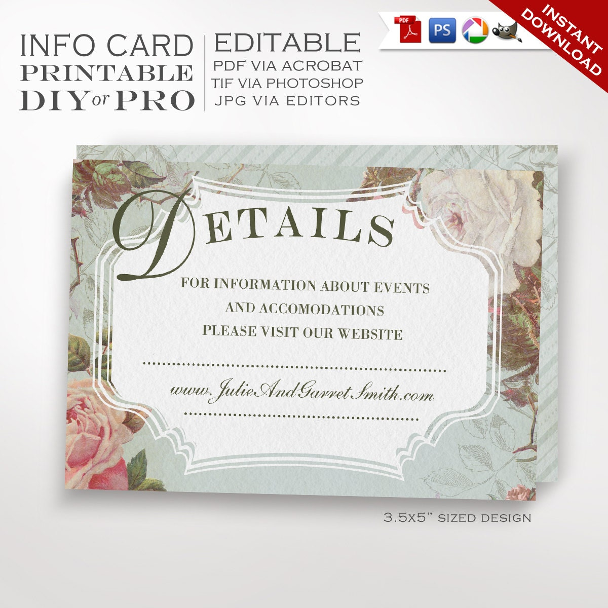 Wedding Website Card Template  Vintage Rose Wedding Information Card  Printable DIY French Country Wedding Editable Custom Additional Info