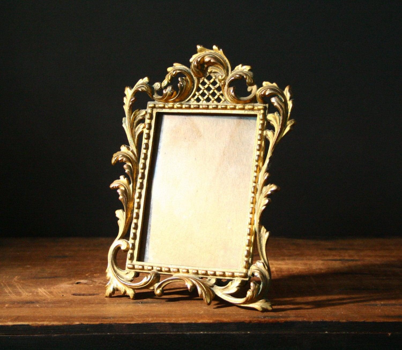 Antique picture frame, gilded metal frame - cristinasroom