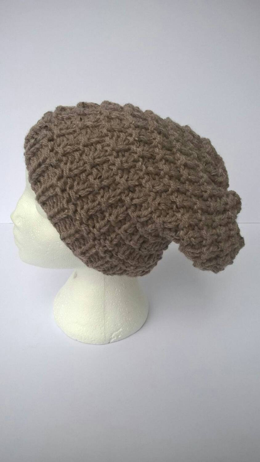 Latte slouchy beanie hand knit hat chunky knit beanie hat ladies knit hat available knit hat  ready to ship