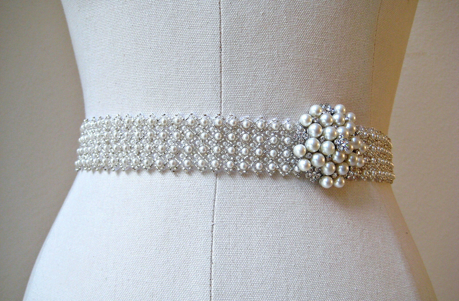 Bridal beaded czechoslovakia ivory pearl sash by ingenueb for Wedding dress belt sash