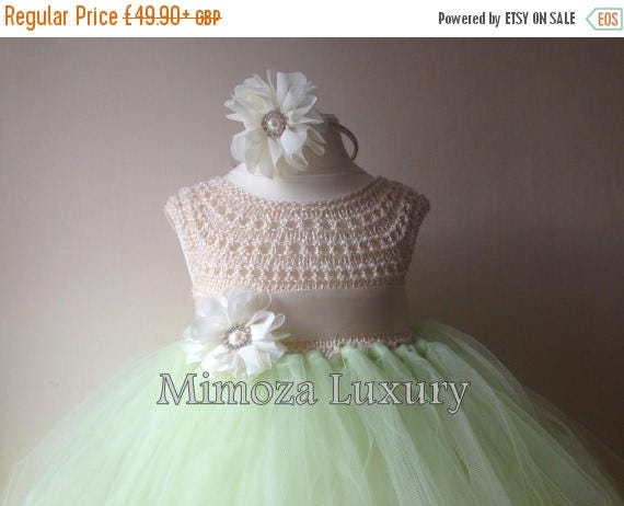SALE Mint Green Ivory Flower girl dress tutu dress bridesmaid dress princess dress mint crochet top tulle dress knit tutu dress mint iv