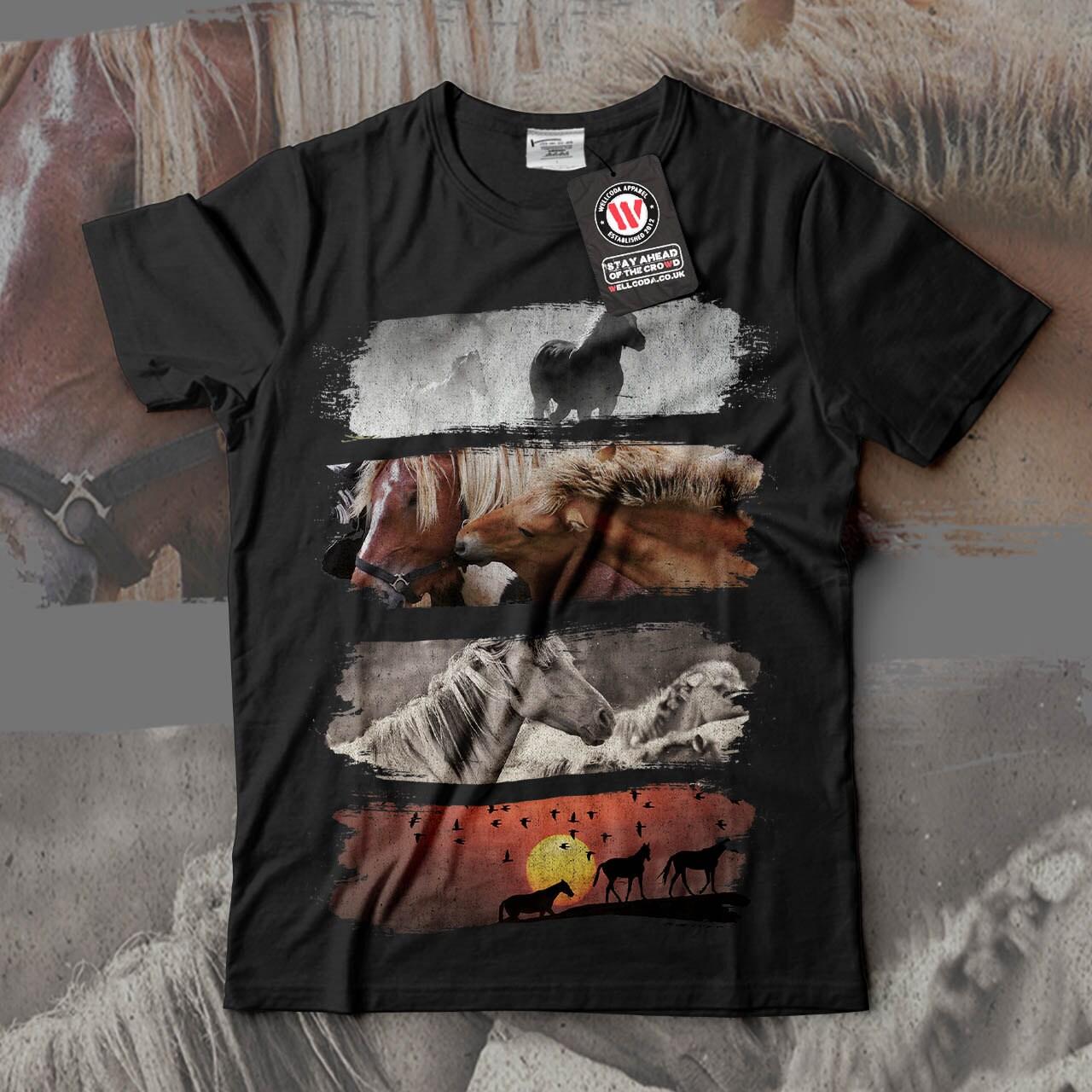 Animal Horse Family Wildlife Men Black White Grey Red Royal Blue Tshirt S5XL NEW  Wellcoda y452