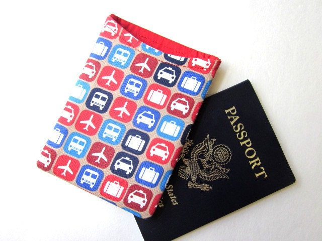 Handmade Passport cover train, airplane, taxi, and luggage