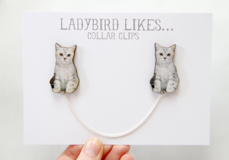 Grey Cat Wooden Collar Clips