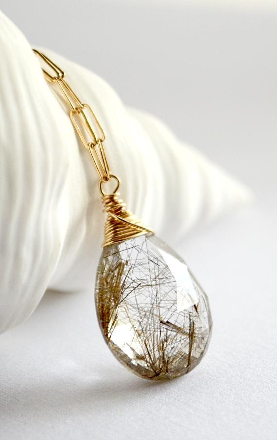 Unavailable listing on etsy for Golden rutilated quartz jewelry