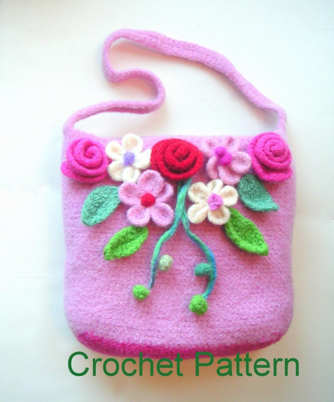 Easy Felted Crochet Bag Pattern : SALE Fairy Tales Flower Bag Crochet Felted by ...