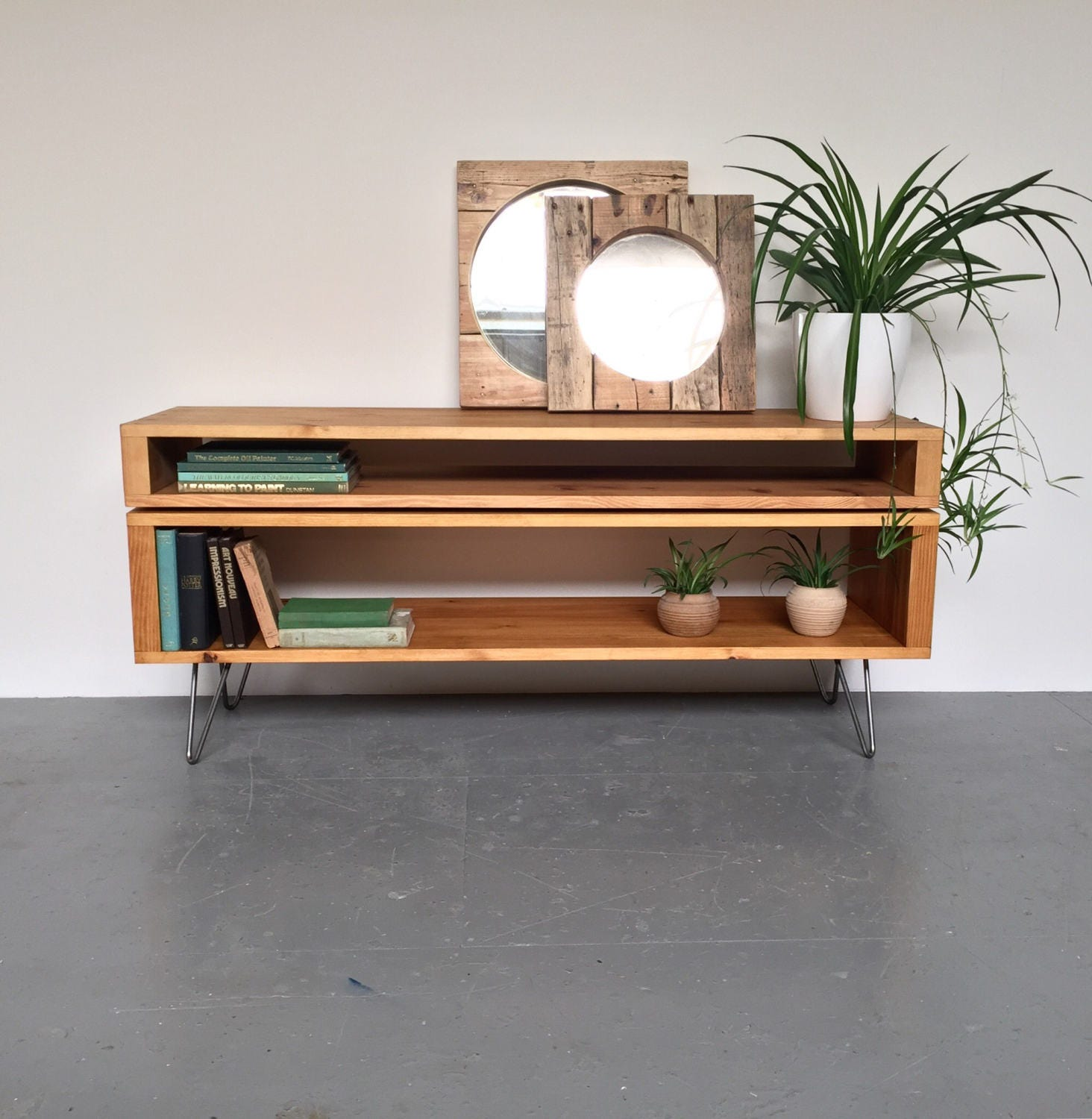 Low Stacked Sideboard Console Storage TV Stand
