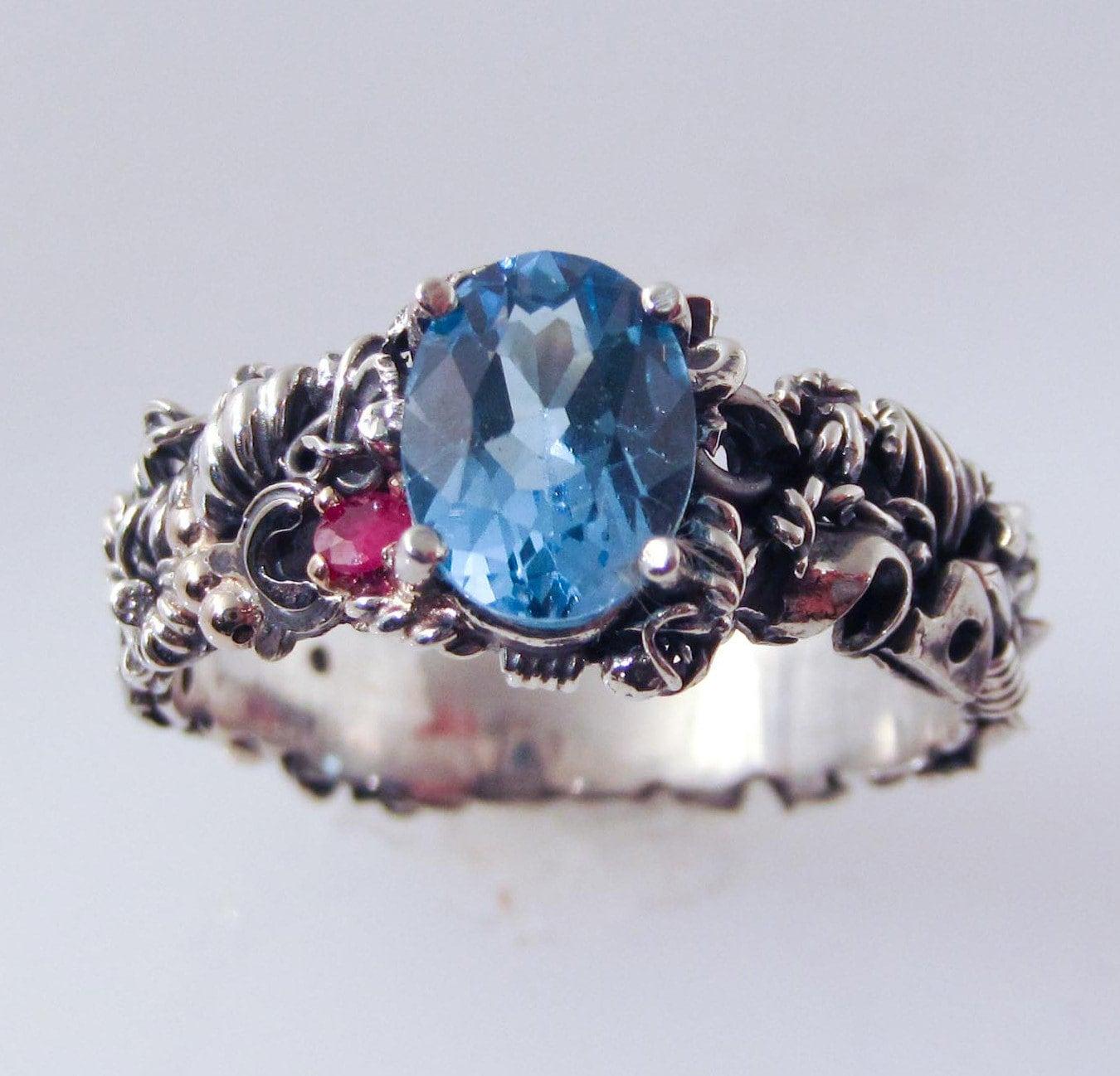 Blue Topaz Steampunk Engagement Ring By FernandoJewelry On Etsy