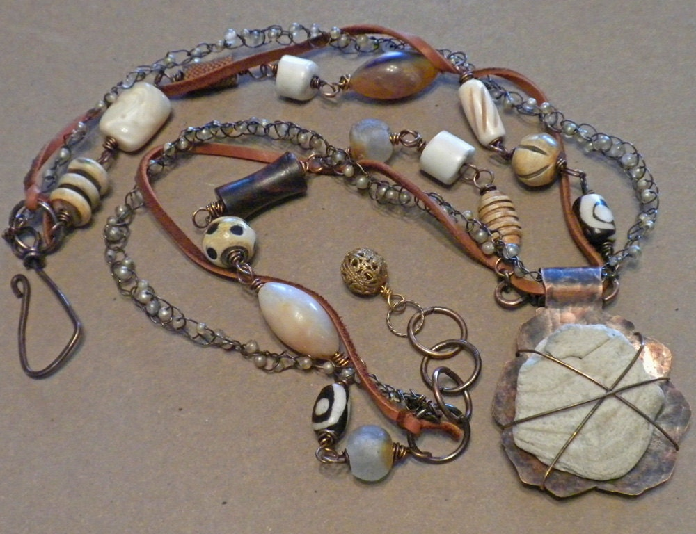 Mixed Media Jewelry, Assemblage Necklace by Tamara Ruiz