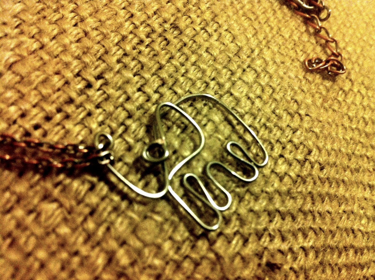 Miniature Silver Wire Elephant Necklace