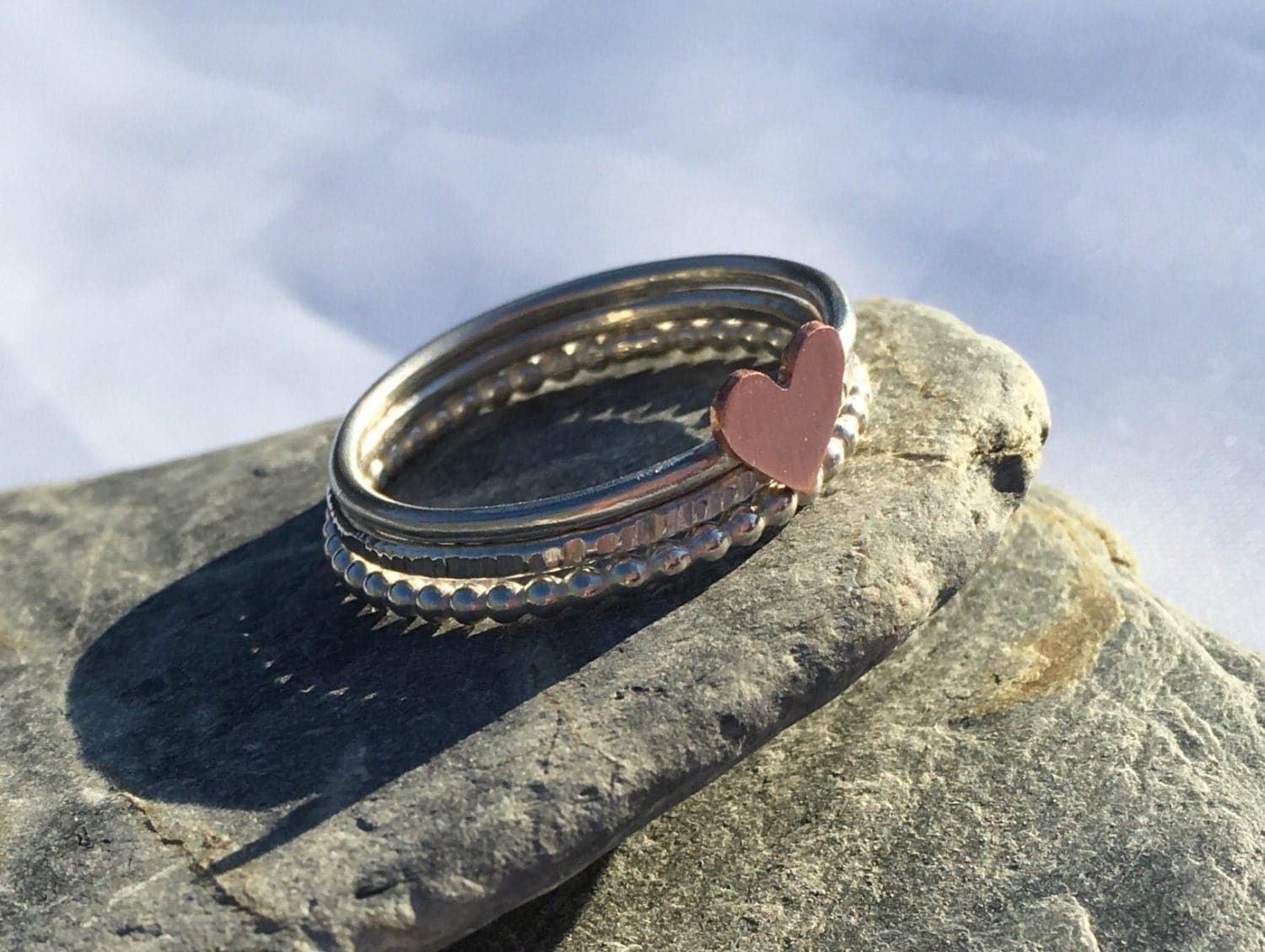 Mixed Metal Heart Stacking Ring Set Three Ring Stack Beaded Ring Sterling Silver Rings Copper Heart Ring Bubble Ring Textured Ring