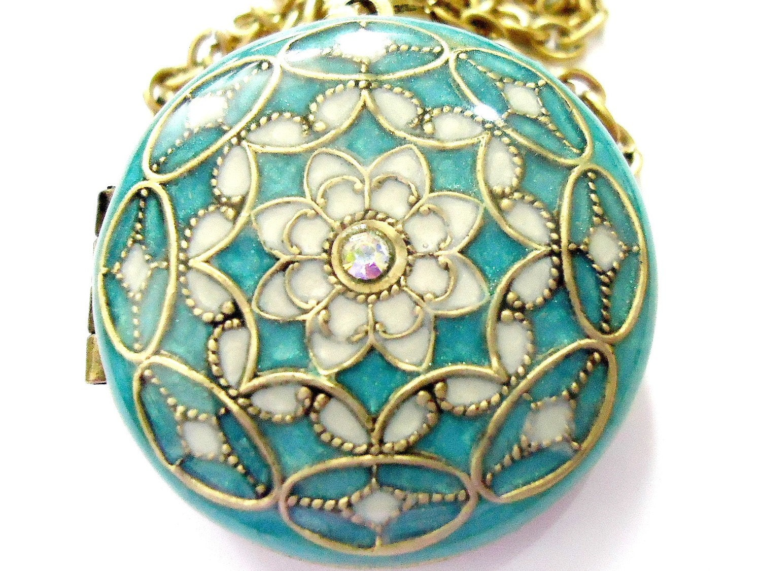 Aqua, Filigree- Vintage, Brass, Swarovski Crystal Locket Necklace