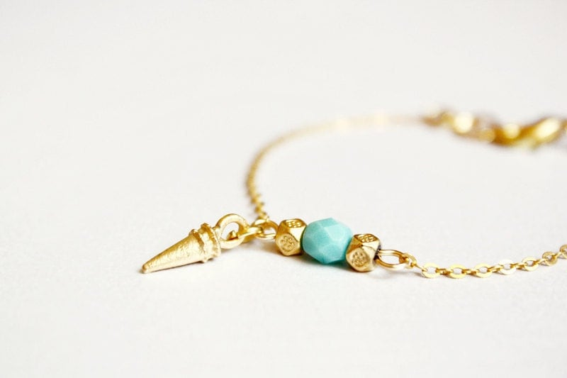 spike bracelet - mint and gold minimal modern jewelry