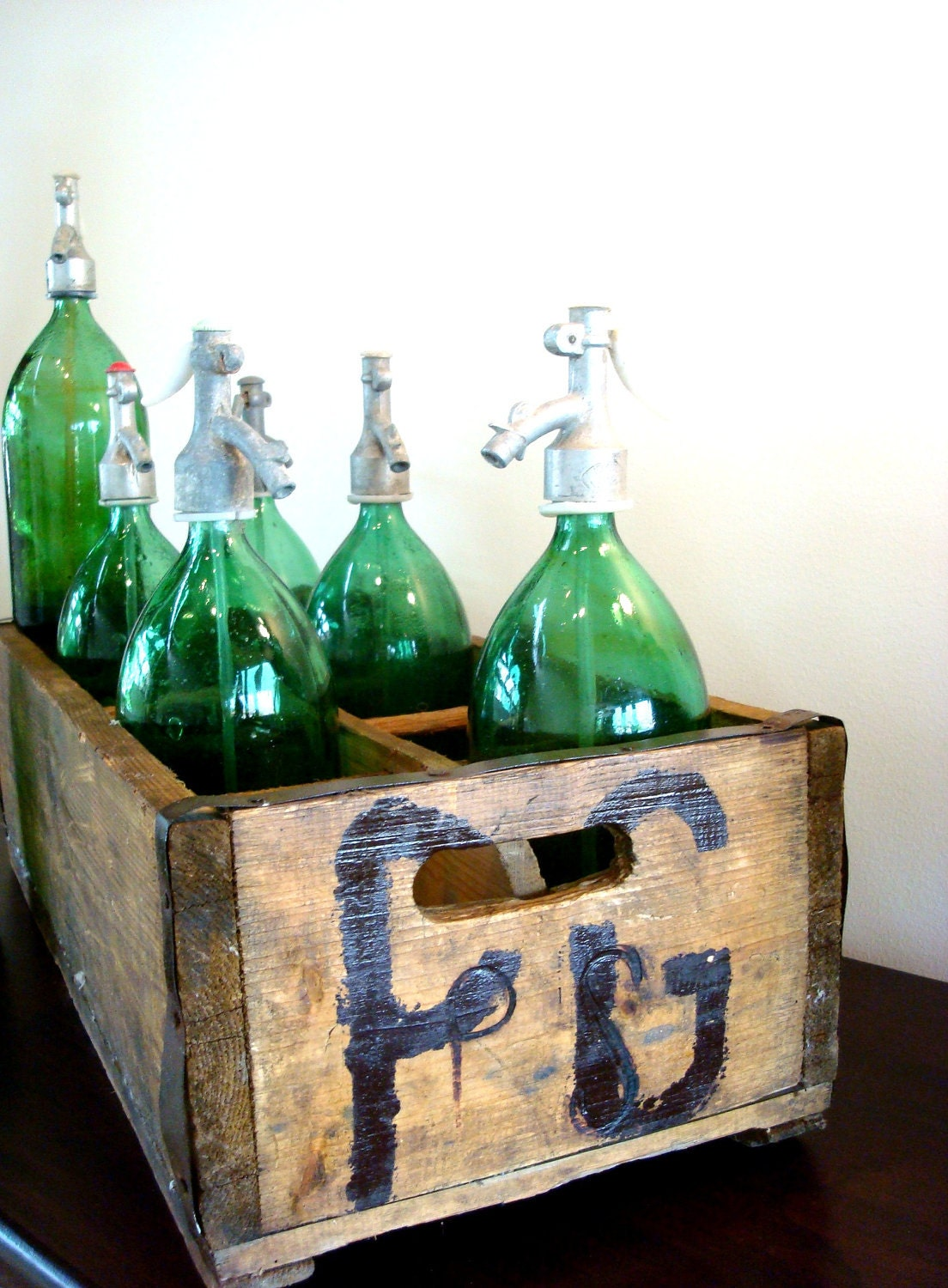 Vintage Green Seltzer Bottles purchsed in Europe, with original Spigot and straw