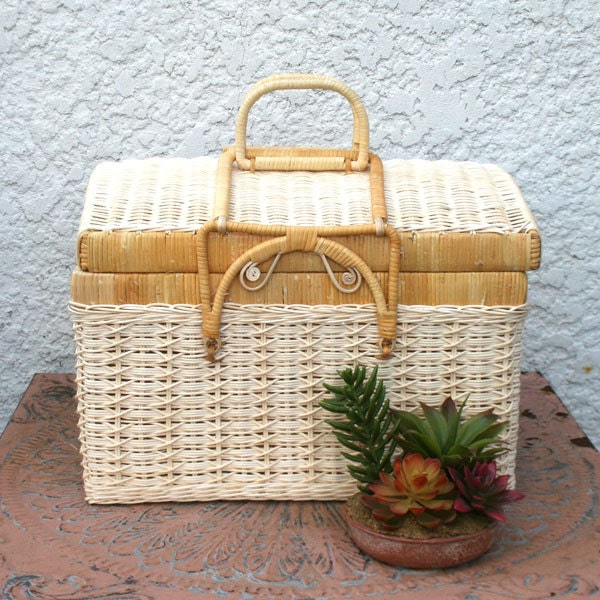 Woven Basket With Hinged Lid : Pale cream woven wicker basket with hinged lid and by