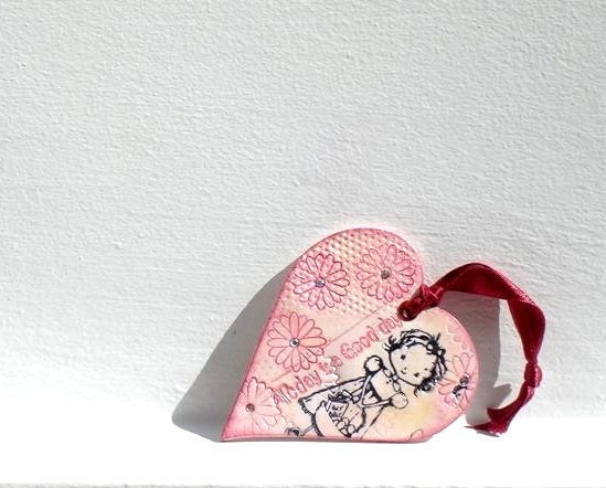 Heart Ornament  Shabby Chic Texture Heart Hanging Decoration, in Ivory and Pink by efiwarsh on Etsy - efiwarsh