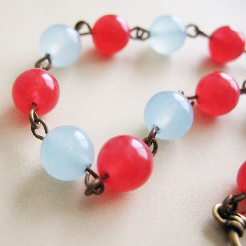 Red and Blue Beaded Candy Jade Bracelet - Sailor Jerry - pulpsushi