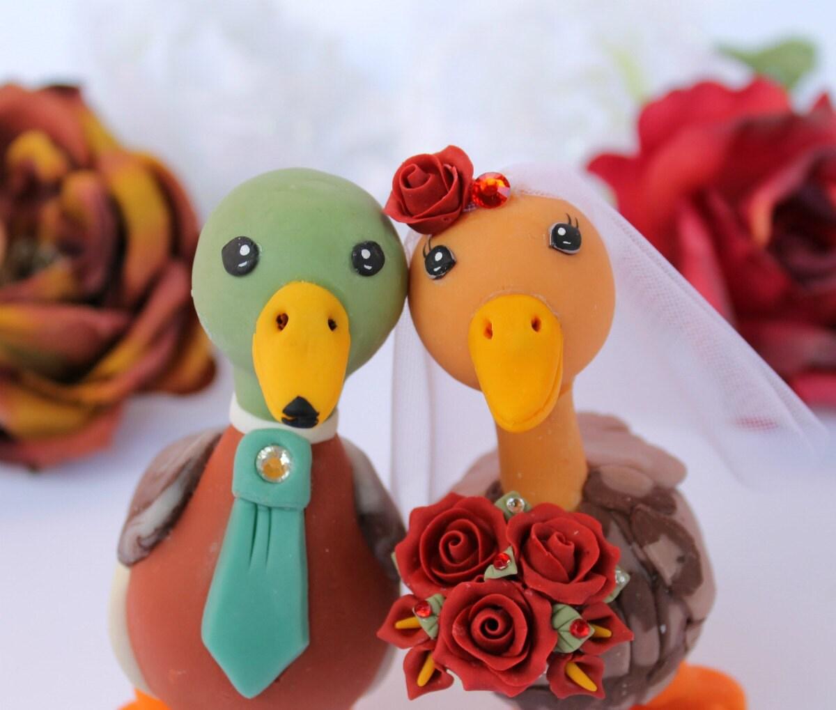 Love bird wedding cake topper Mallard duck with by ...