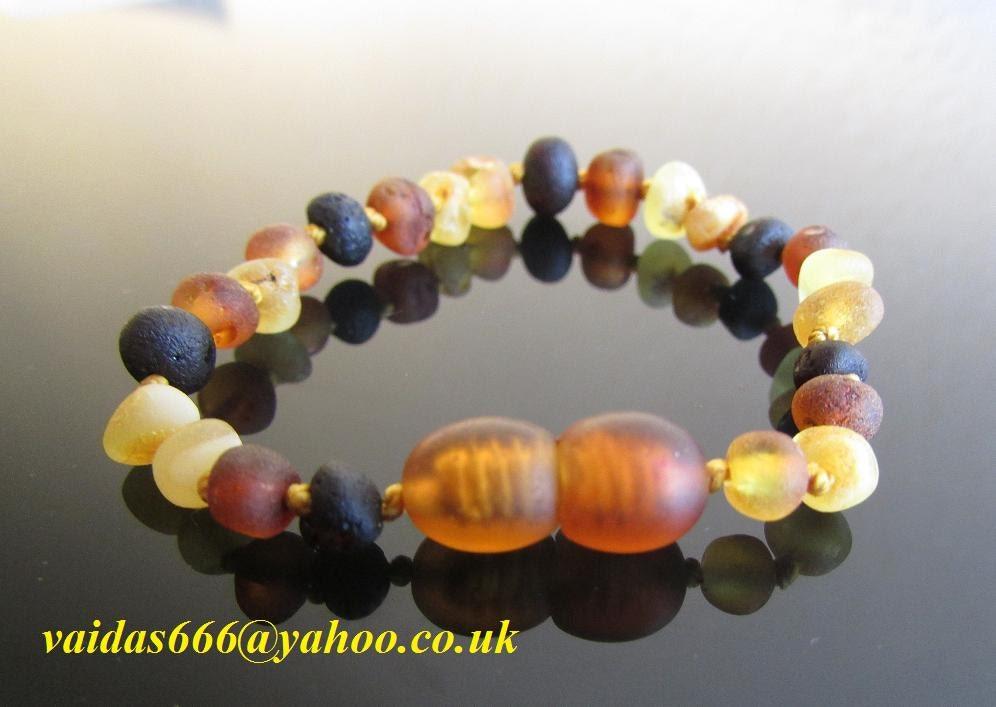 Genuine Lovely  Baltic Amber  Baby Teething   Bracelet  Anklet    Unpolished Colours Mixed  Sizes 13  17 CM
