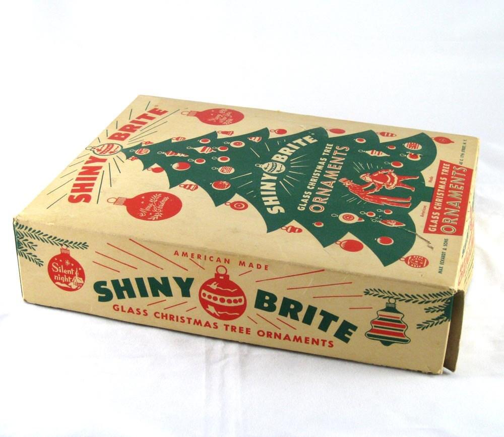 1950s Shiny Brite Glass Ornaments In Rare Box By Niknaknook
