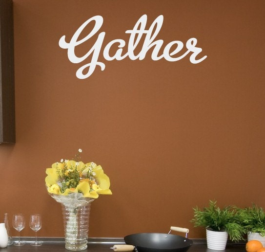 Gather vinyl wall decal kitchen dining room by for Dining room vinyl wall art