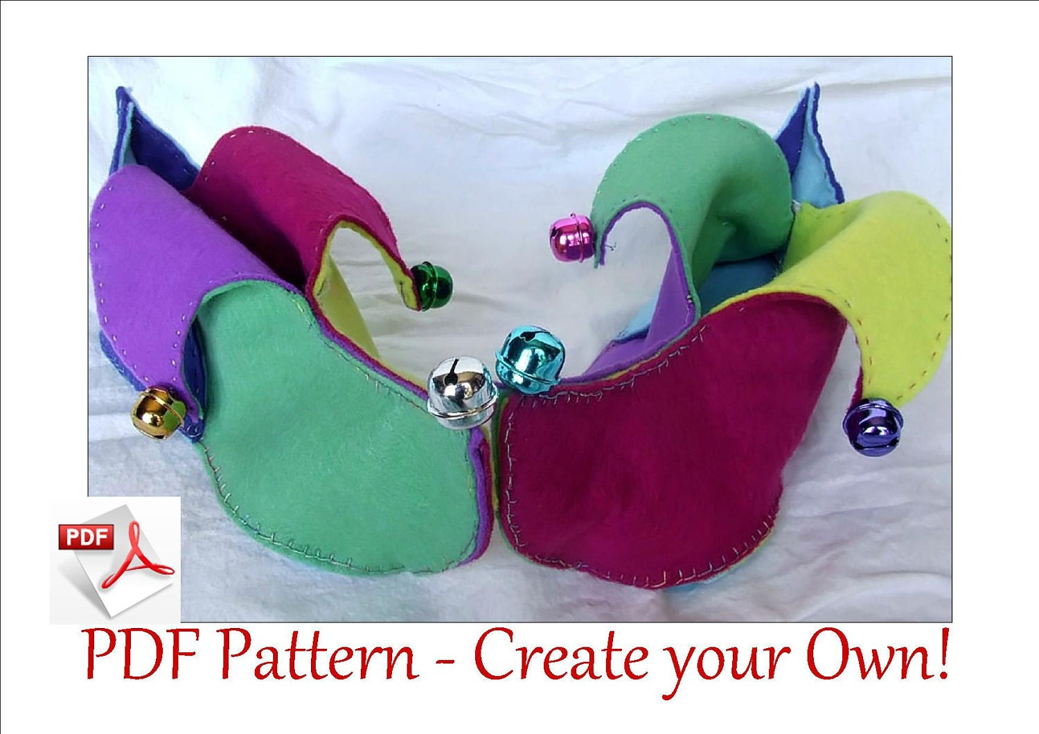 Jester Slippers Pattern PDF. Make your own cozy by EbonyShae
