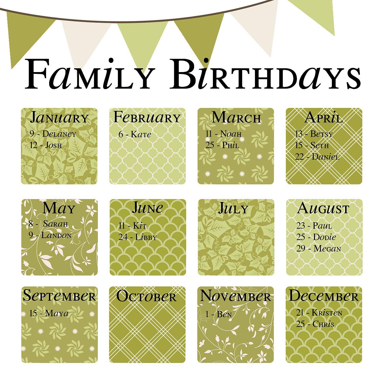 Items similar to Family Birthday Calendar - Digital copy you print in ...