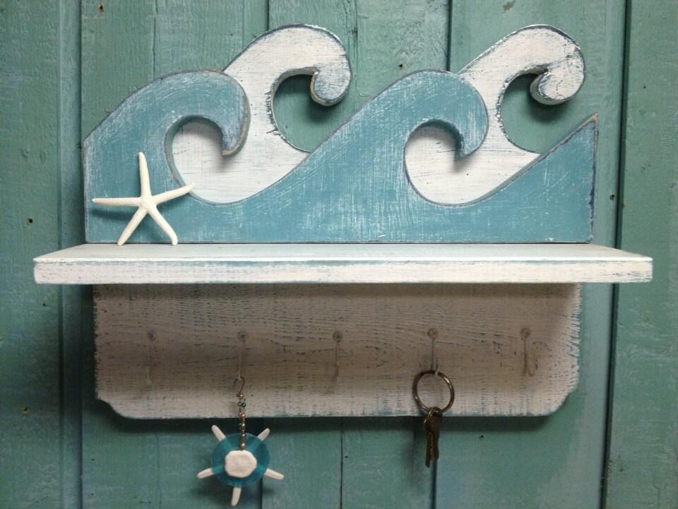 Waves Shelf Key Holder Hook Rack Sign Wall Beach by CastawaysHall
