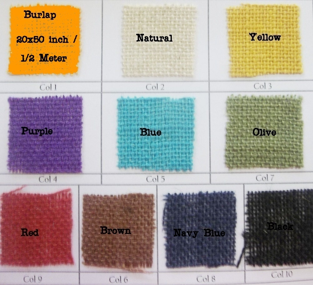 0 5 metre colored burlap fabric hessian 9 colors by for Colored burlap fabric